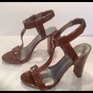 Kenneth Cole brown patent leather strap heels